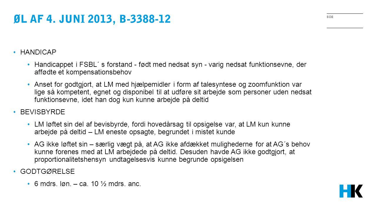 Øl af 4. juni 2013, B-3388-12 HANDICAP.