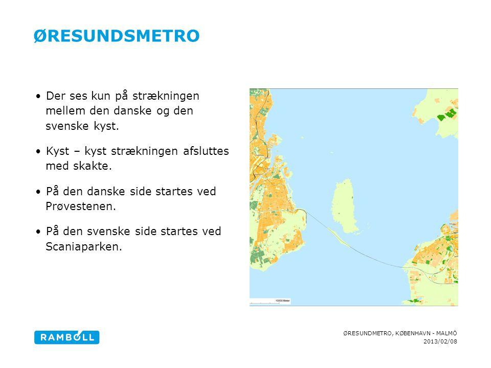 Øresundsmetro Der ses kun på strækningen mellem den danske og den svenske kyst. Kyst – kyst strækningen afsluttes med skakte.