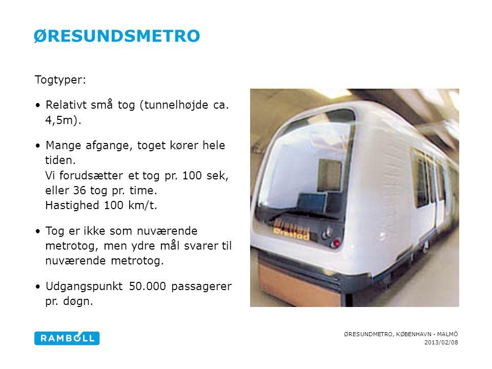 Øresundsmetro Togtyper: Relativt små tog (tunnelhøjde ca. 4,5m).