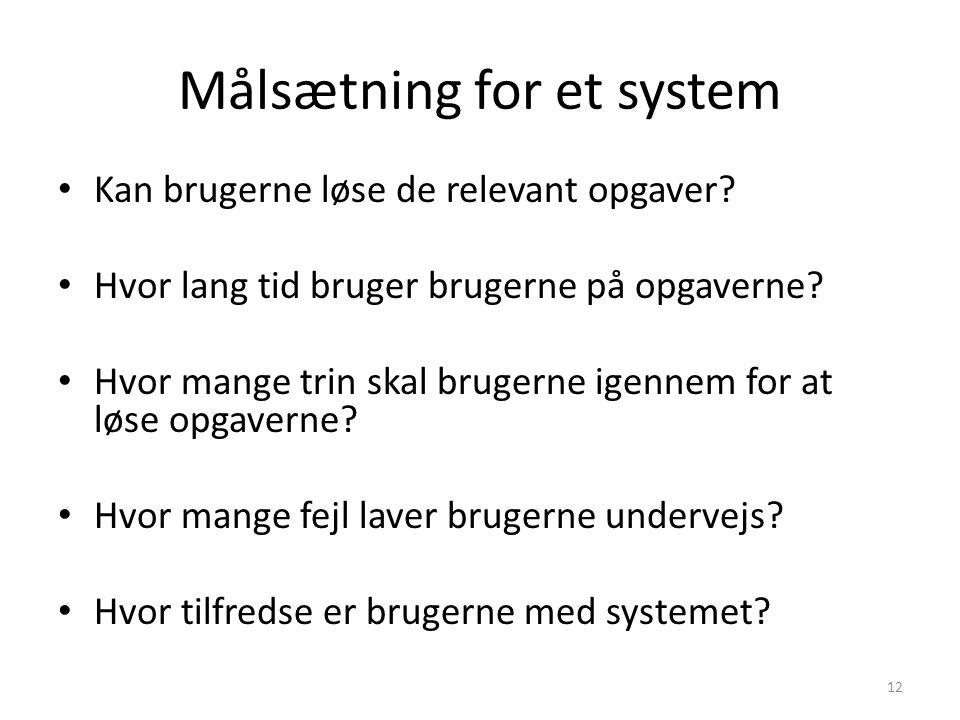 Målsætning for et system
