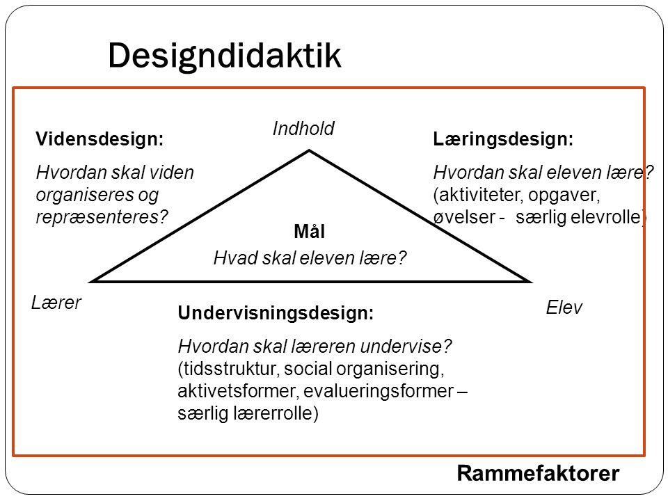 Designdidaktik Rammefaktorer Indhold Vidensdesign:
