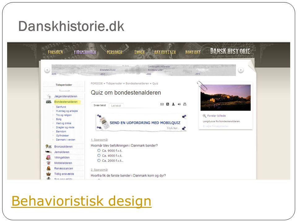Danskhistorie.dk Behavioristisk design