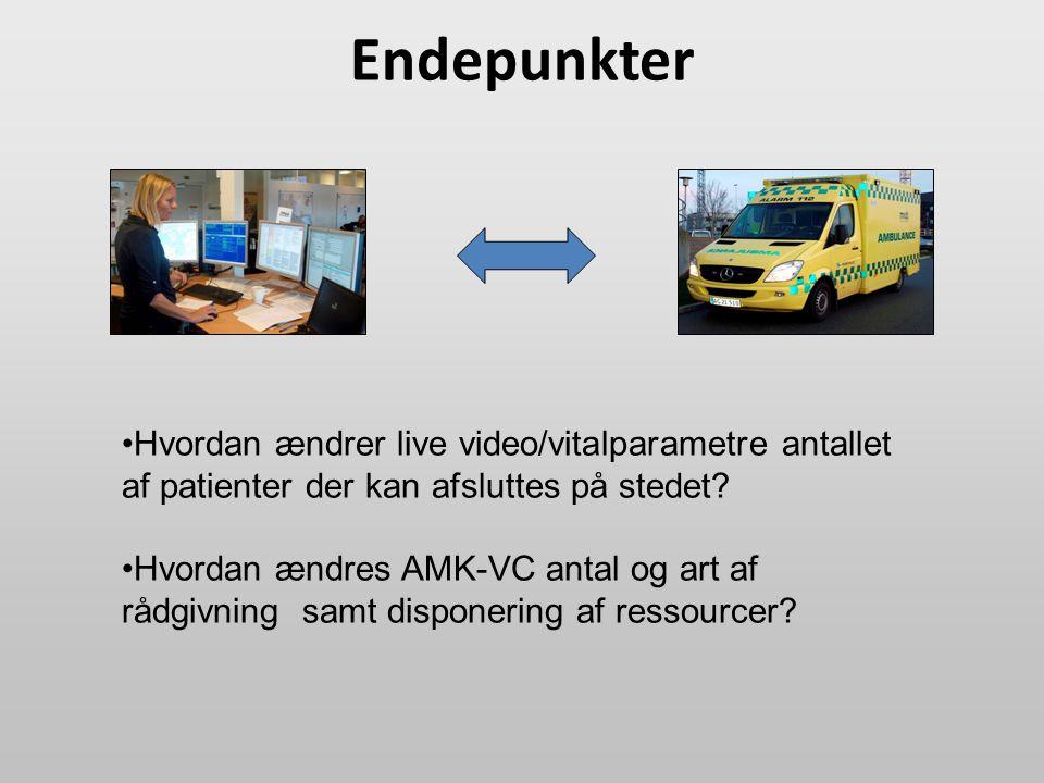 Endepunkter Hvordan ændrer live video/vitalparametre antallet af patienter der kan afsluttes på stedet