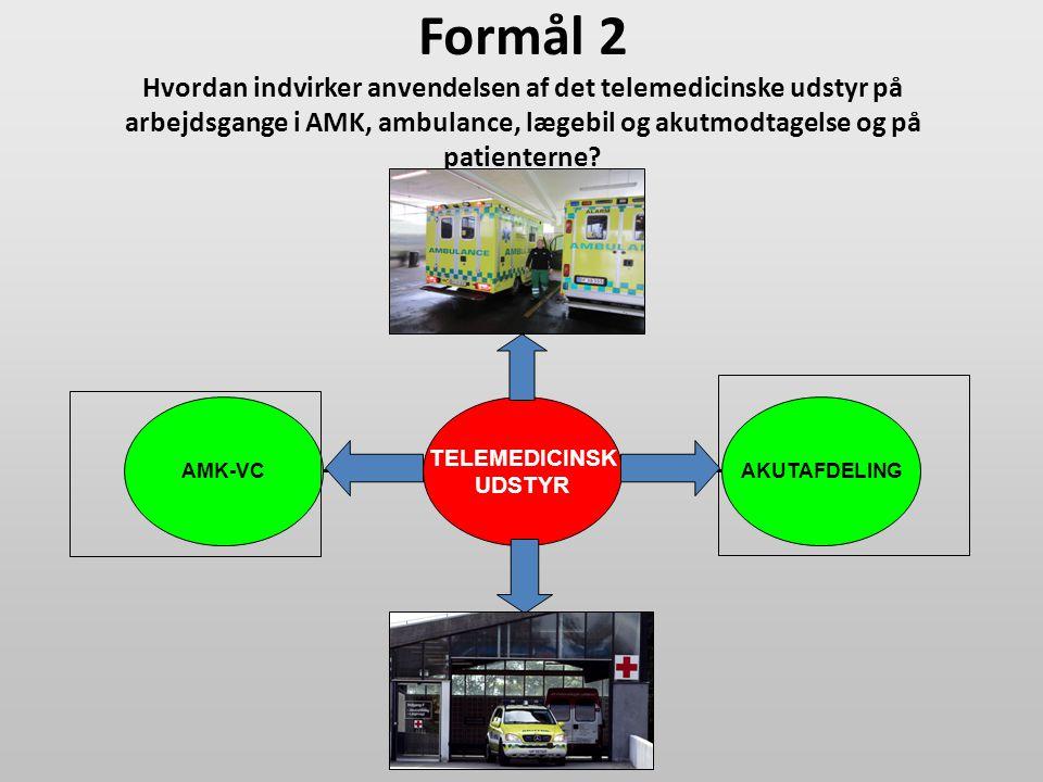 Formål 2 Hvordan indvirker anvendelsen af det telemedicinske udstyr på arbejdsgange i AMK, ambulance, lægebil og akutmodtagelse og på patienterne