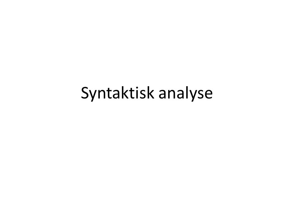 Syntaktisk analyse