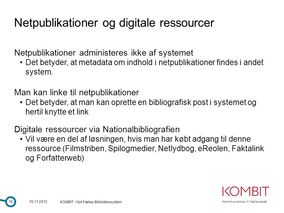 Netpublikationer og digitale ressourcer
