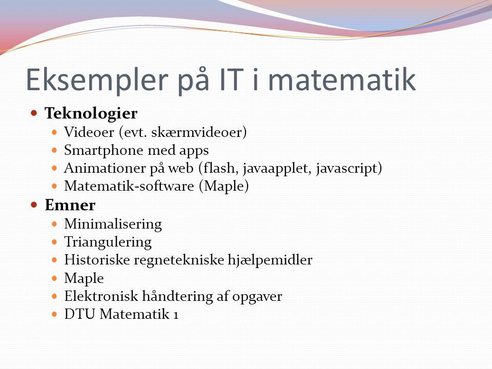 Eksempler på IT i matematik