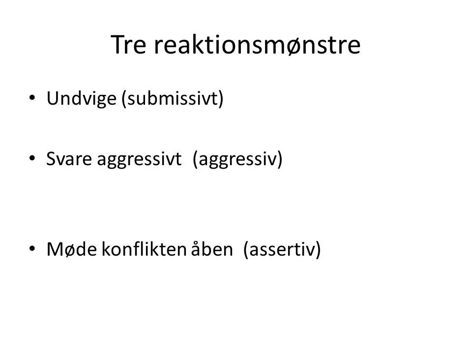 Tre reaktionsmønstre Undvige (submissivt) Svare aggressivt (aggressiv)