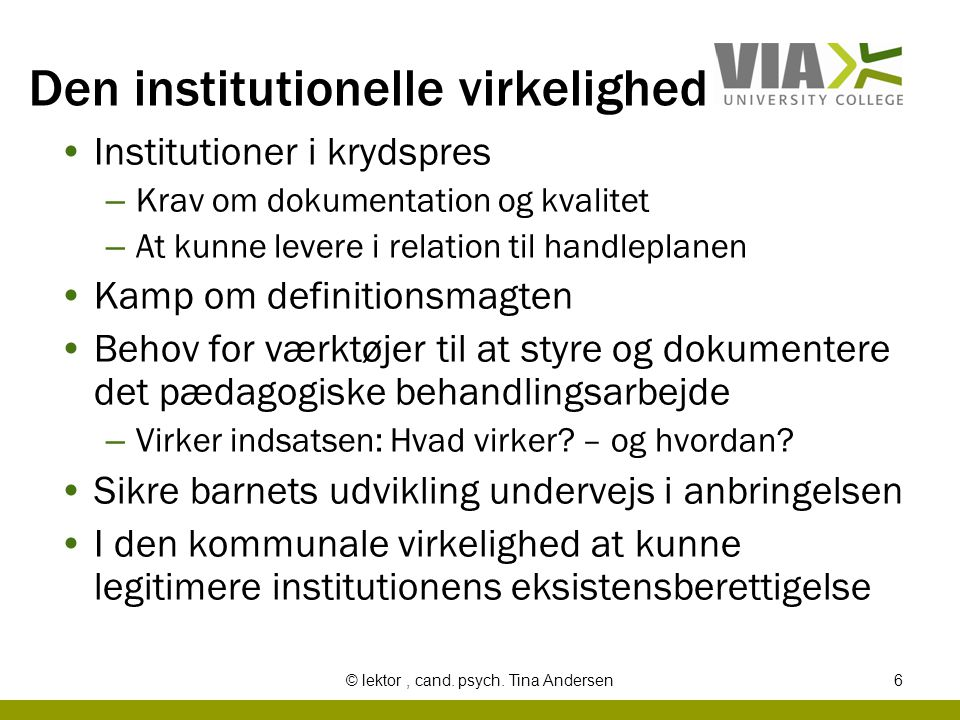 Den institutionelle virkelighed