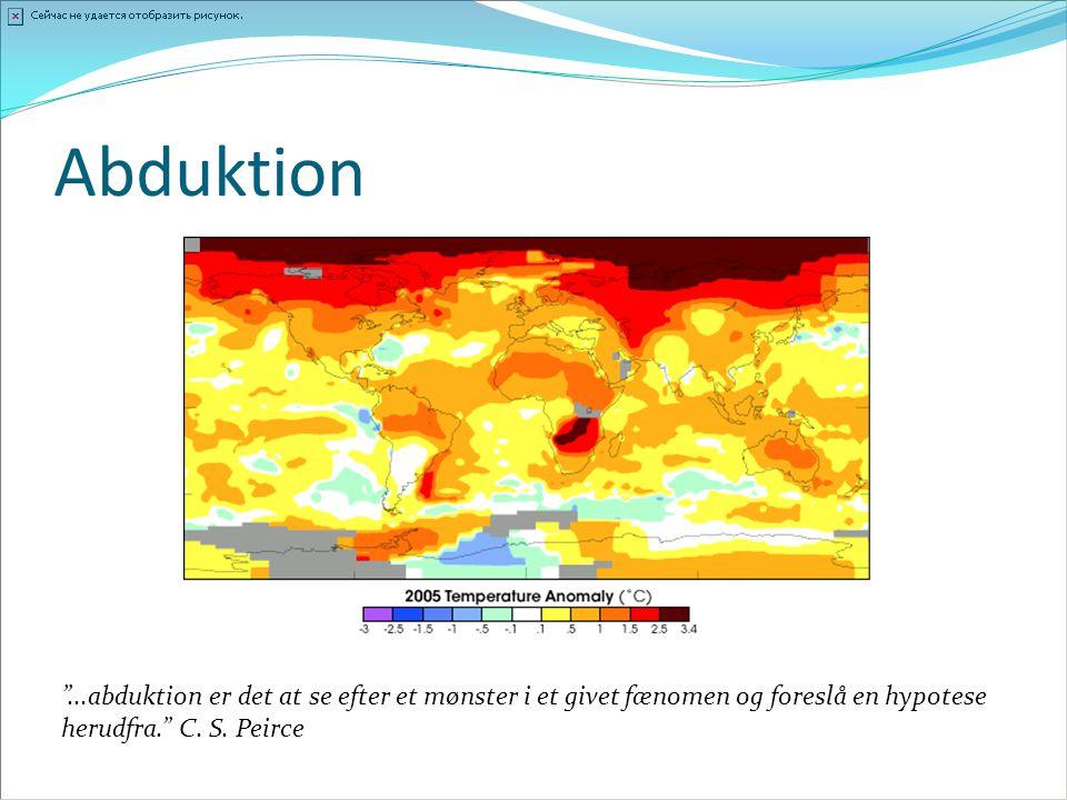 Abduktion ...abduktion er det at se efter et mønster i et givet fænomen og foreslå en hypotese herudfra. C.