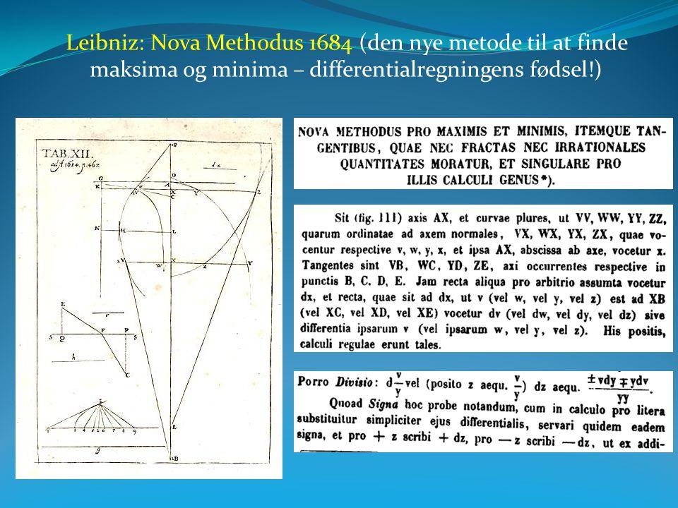 Leibniz: Nova Methodus 1684 (den nye metode til at finde maksima og minima – differentialregningens fødsel!)
