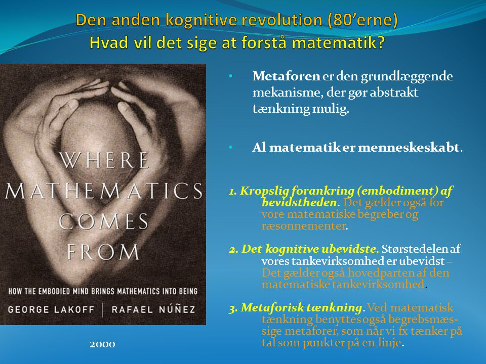 Den anden kognitive revolution (80'erne) Hvad vil det sige at forstå matematik