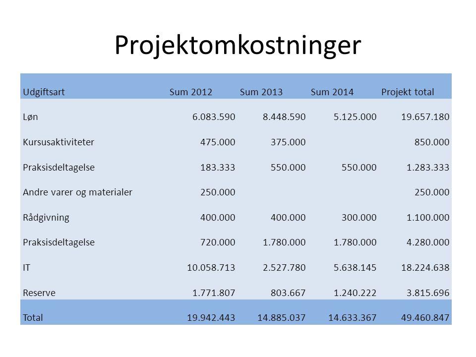 Projektomkostninger Udgiftsart Sum 2012 Sum 2013 Sum 2014