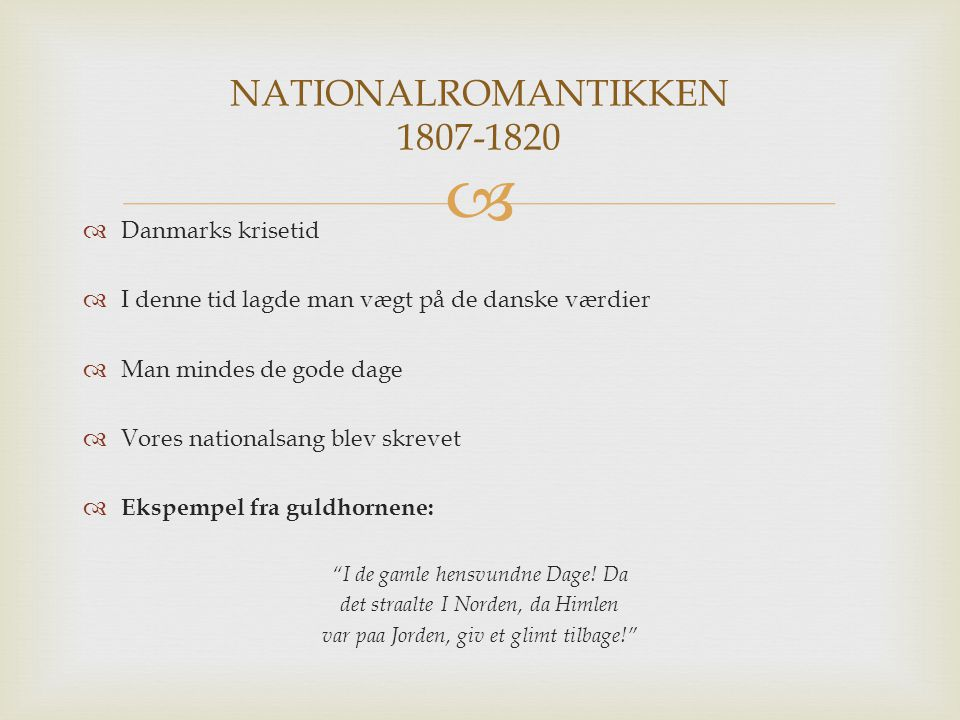 NATIONALROMANTIKKEN 1807-1820