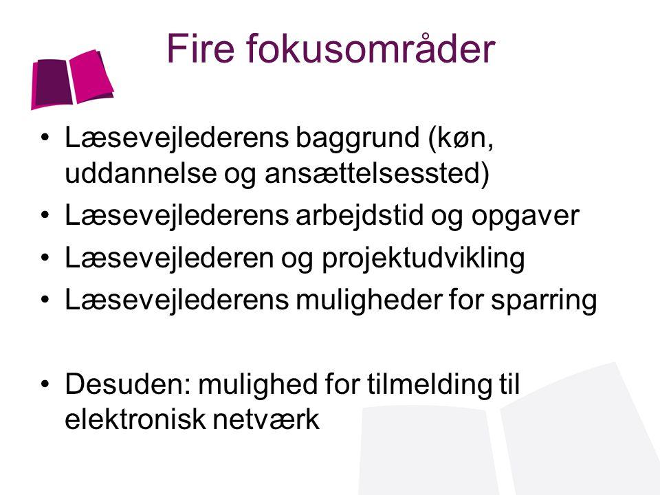Fire fokusområder Læsevejlederens baggrund (køn, uddannelse og ansættelsessted) Læsevejlederens arbejdstid og opgaver.
