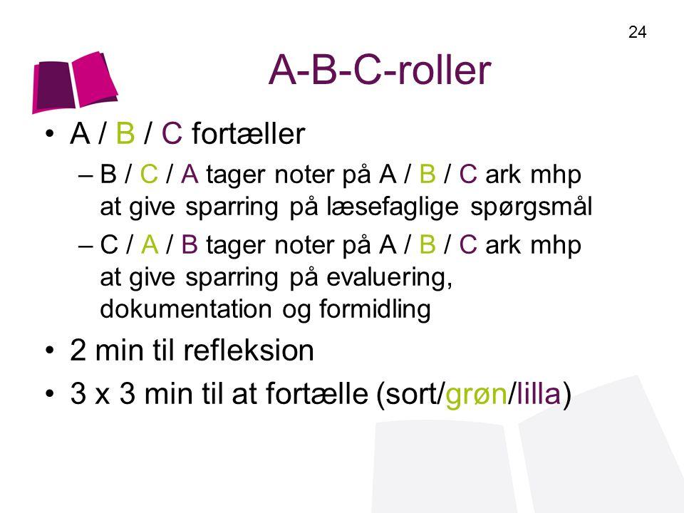 A-B-C-roller A / B / C fortæller 2 min til refleksion