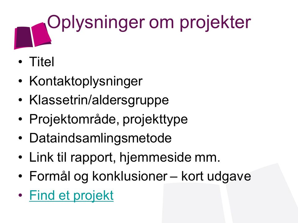 Oplysninger om projekter