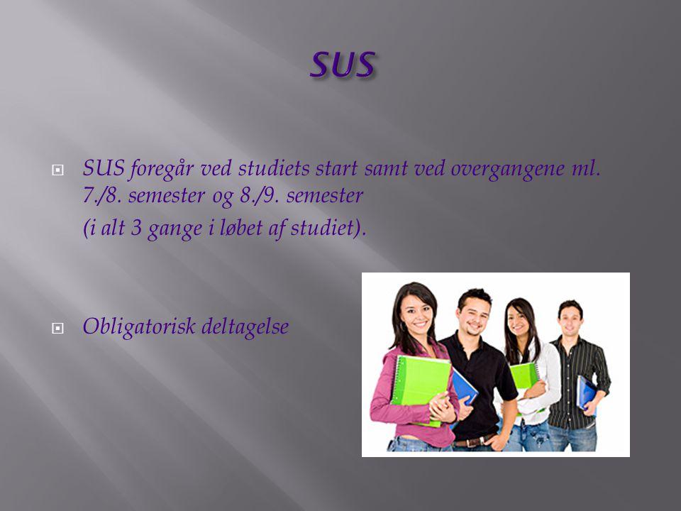 SUS SUS foregår ved studiets start samt ved overgangene ml. 7./8. semester og 8./9. semester. (i alt 3 gange i løbet af studiet).