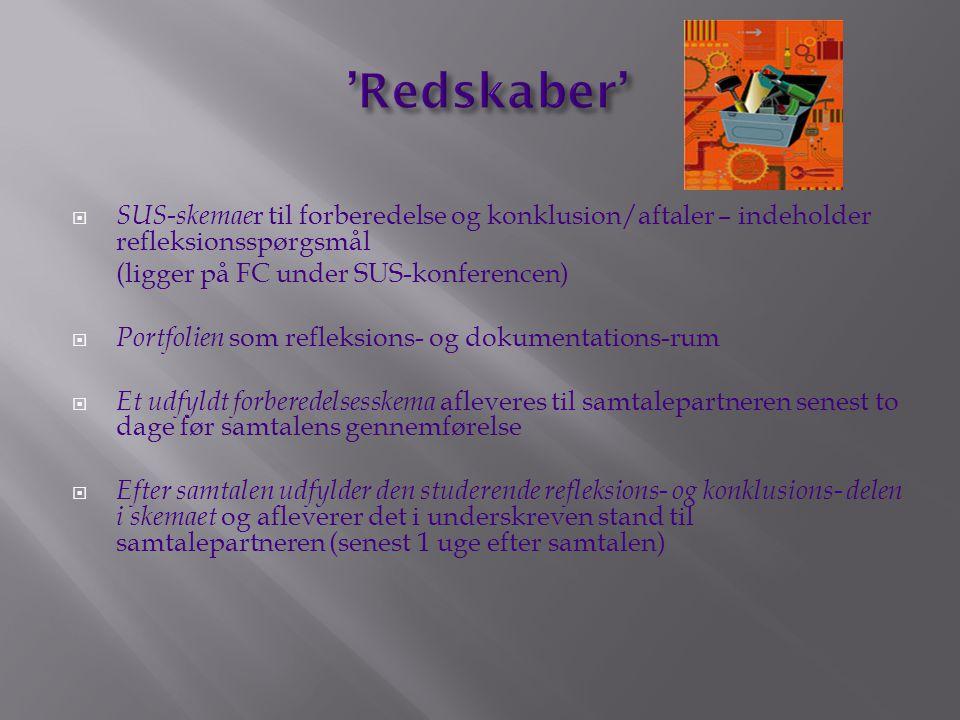 'Redskaber' SUS-skemaer til forberedelse og konklusion/aftaler – indeholder refleksionsspørgsmål. (ligger på FC under SUS-konferencen)