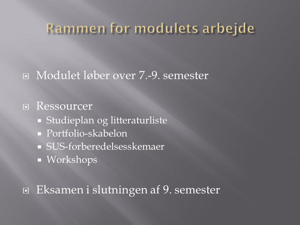 Rammen for modulets arbejde