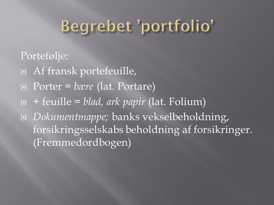 Begrebet 'portfolio' Portefølje: Af fransk portefeuille,