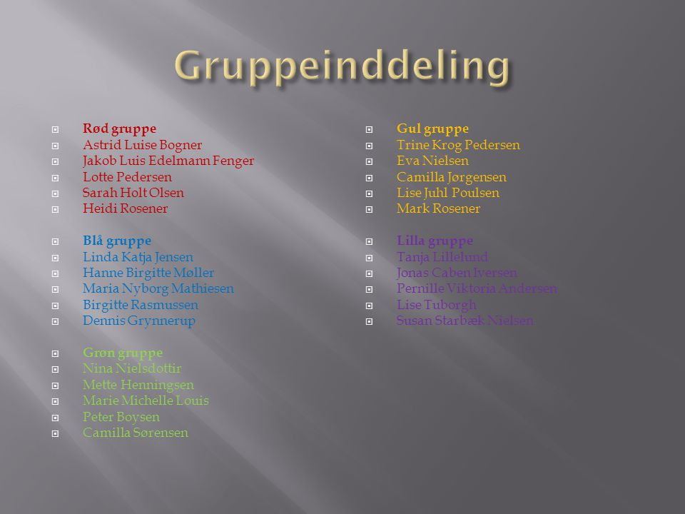 Gruppeinddeling Rød gruppe Astrid Luise Bogner