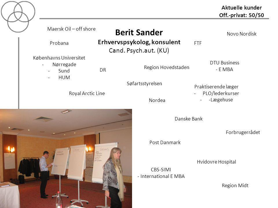 Berit Sander Erhvervspsykolog, konsulent Cand. Psych.aut. (KU)