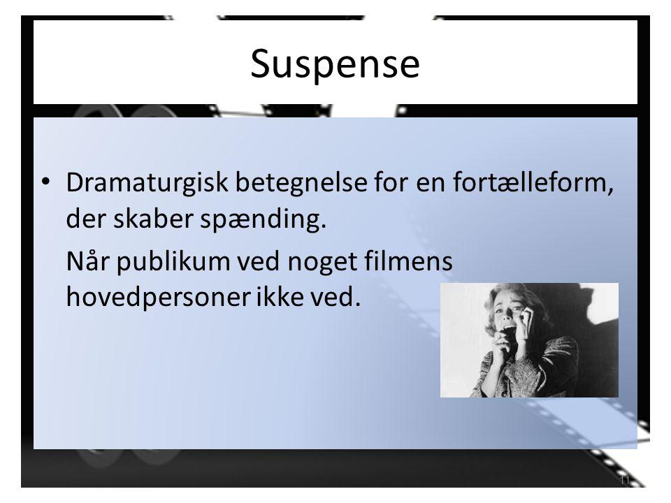 Suspense Dramaturgisk betegnelse for en fortælleform, der skaber spænding.