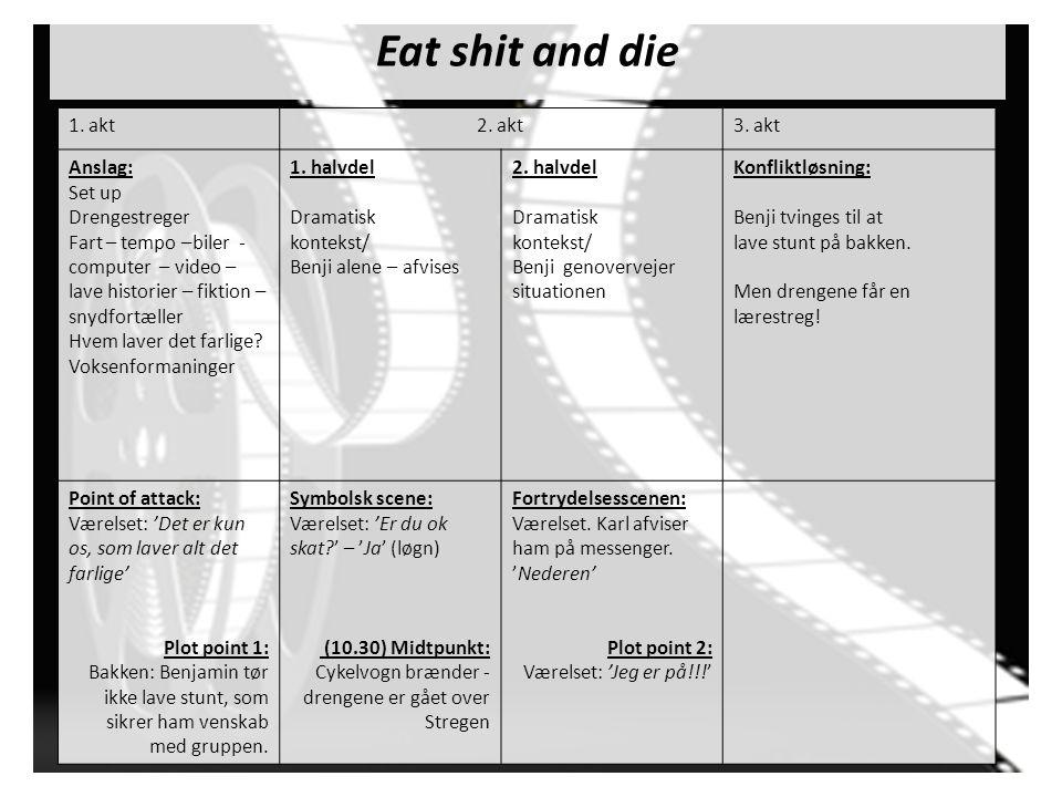 Eat shit and die 1. akt 2. akt 3. akt Anslag: Set up Drengestreger