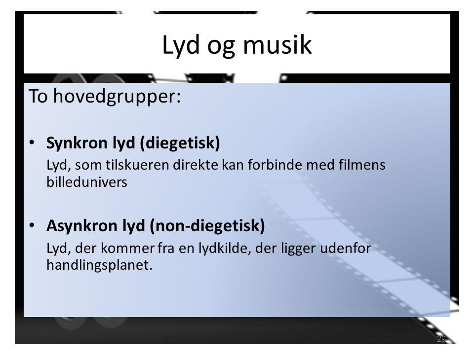 Lyd og musik To hovedgrupper: Synkron lyd (diegetisk)