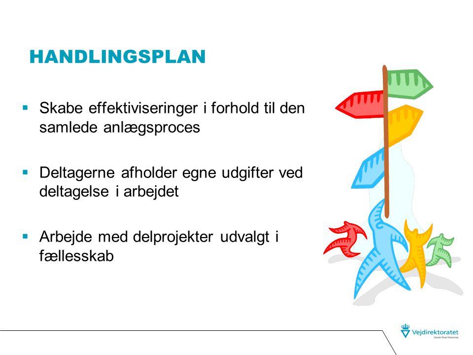 Handlingsplan Skabe effektiviseringer i forhold til den samlede anlægsproces. Deltagerne afholder egne udgifter ved deltagelse i arbejdet.