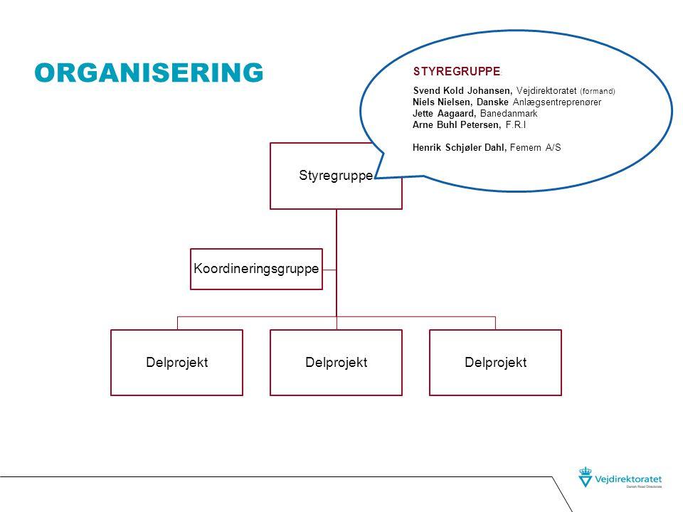 Organisering Styregruppe Koordineringsgruppe Delprojekt STYREGRUPPE: