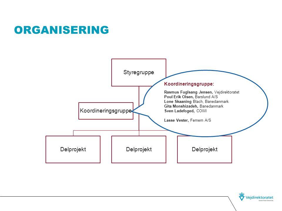 Organisering Styregruppe Koordineringsgruppe Delprojekt