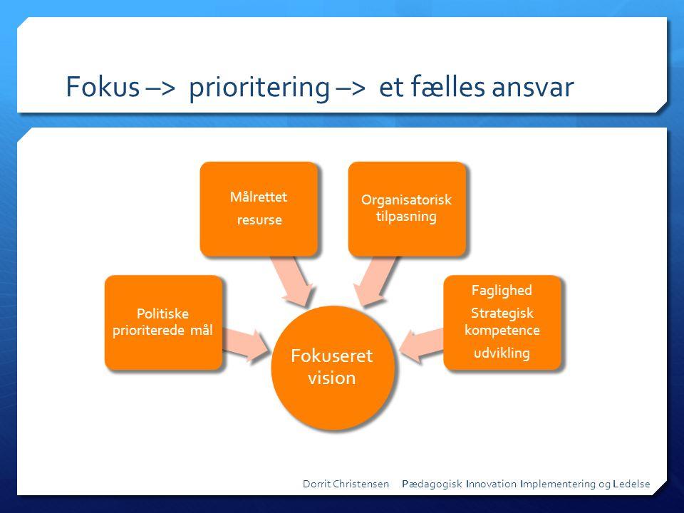 Fokus –> prioritering –> et fælles ansvar