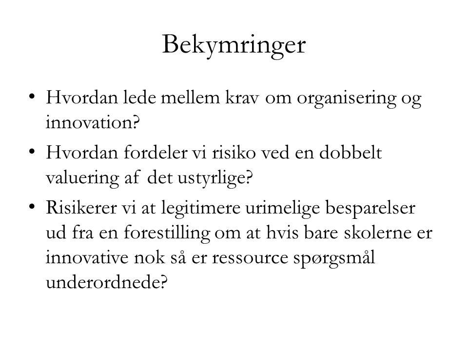 Bekymringer Hvordan lede mellem krav om organisering og innovation