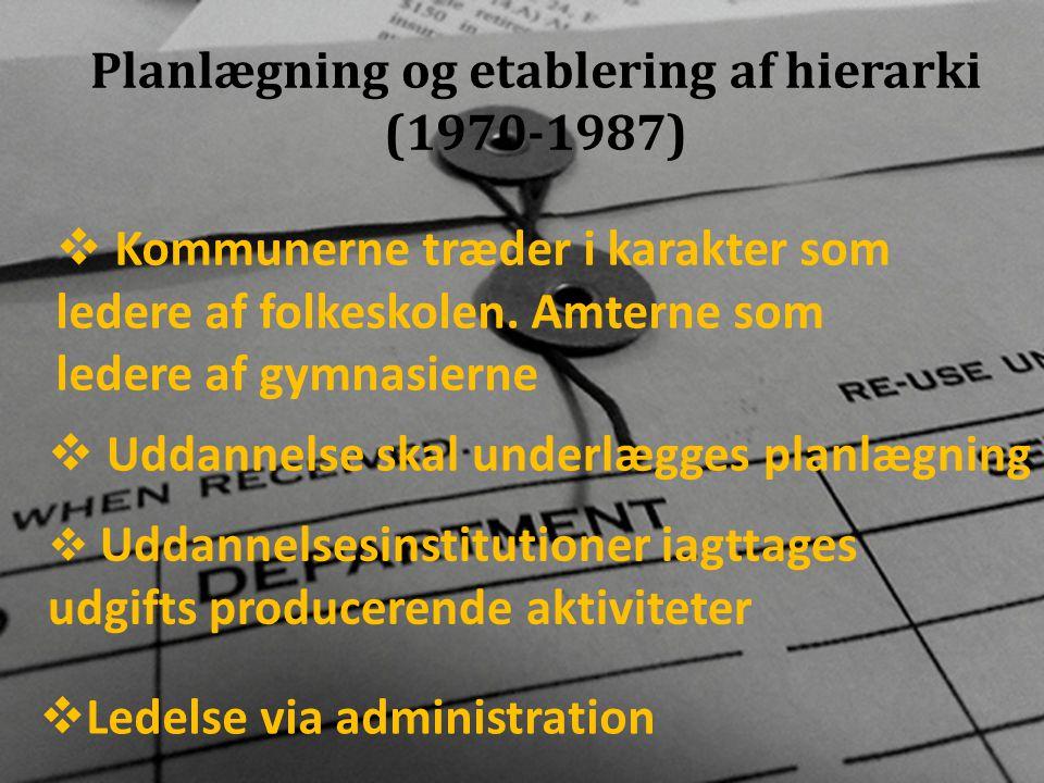 Planlægning og etablering af hierarki (1970-1987)