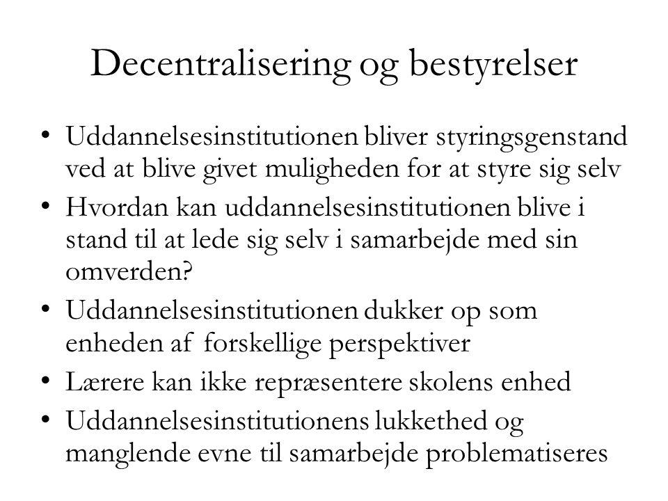 Decentralisering og bestyrelser