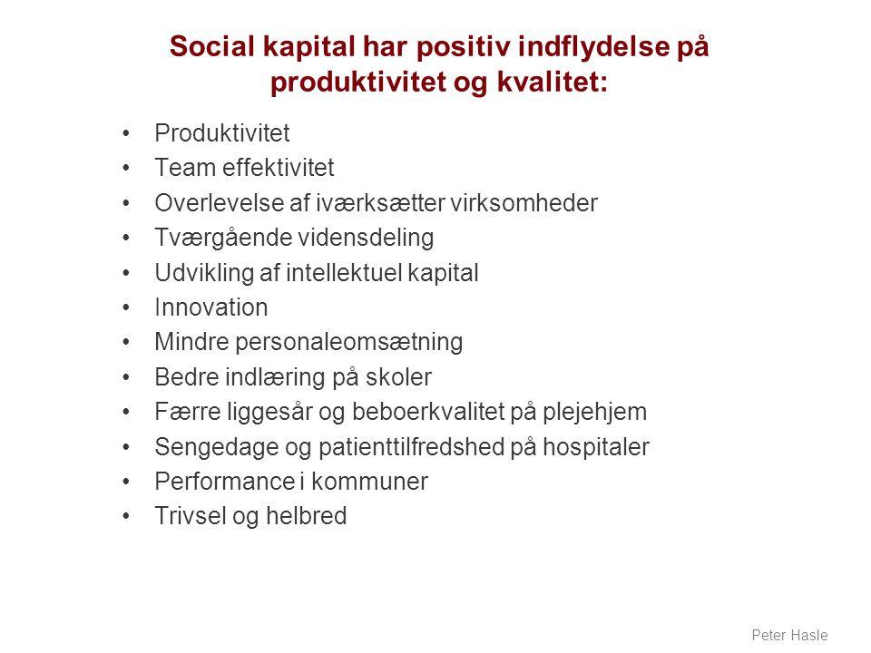 Social kapital har positiv indflydelse på produktivitet og kvalitet: