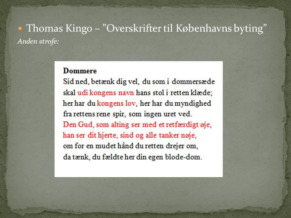 Thomas Kingo – Overskrifter til Københavns byting
