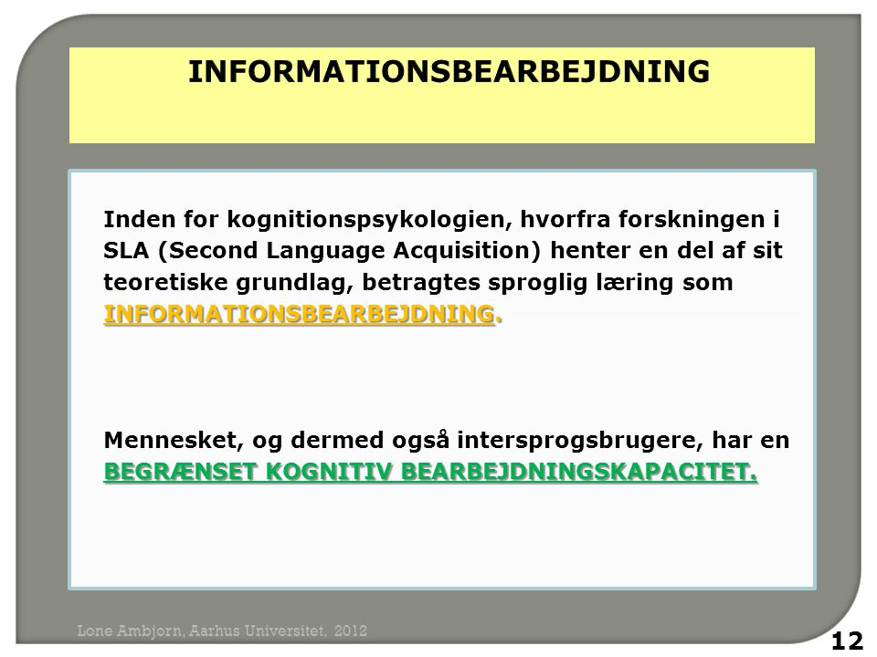 INFORMATIONSBEARBEJDNING