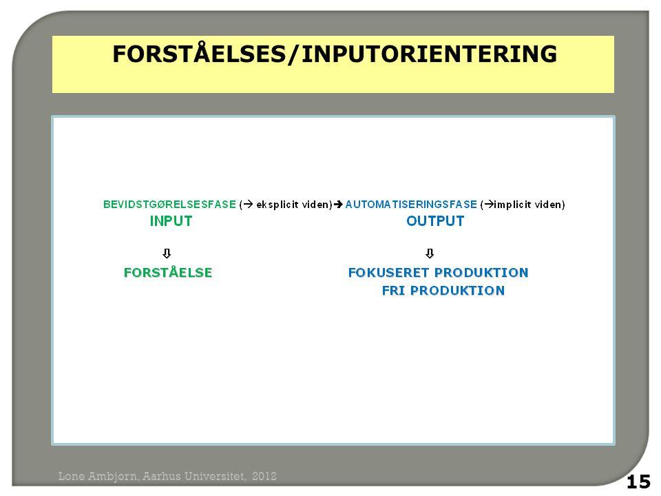FORSTÅELSES/INPUTORIENTERING