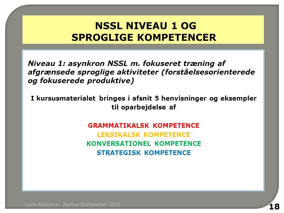 nSSL niveau 1 og sproglige kompetencer
