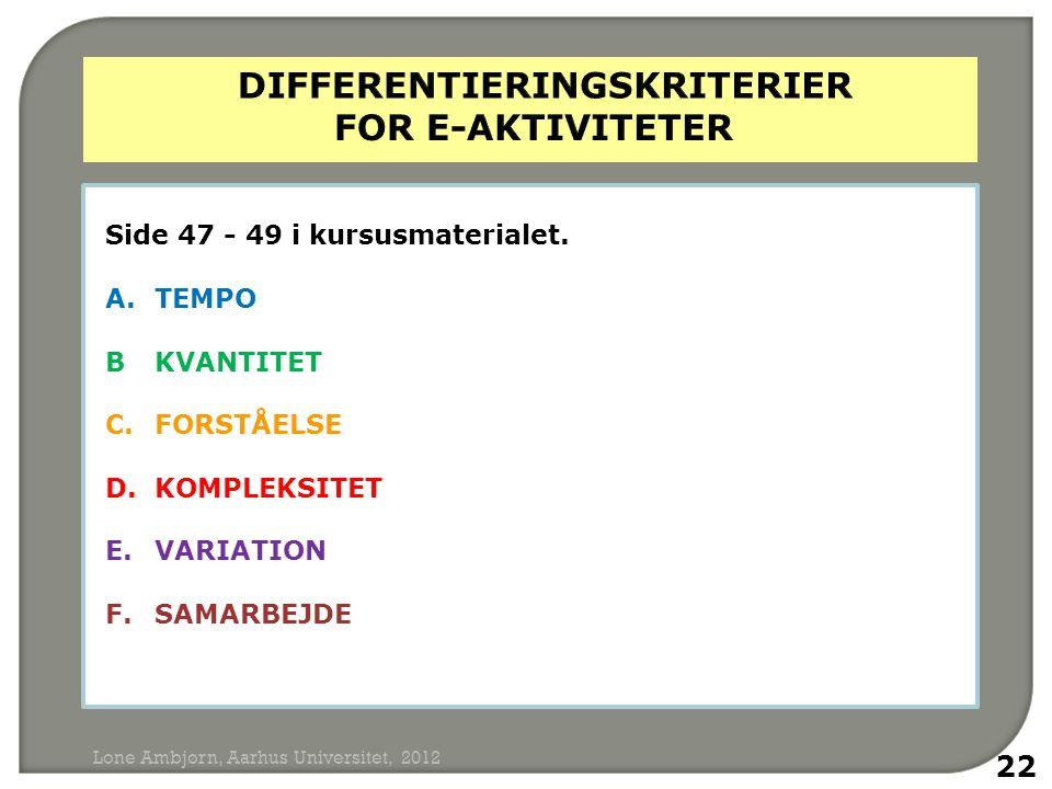 differentieringskriterier for e-aktiviteter