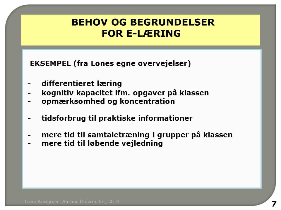 BEHOV OG BEGRUNDELSER FOR e-LÆRING
