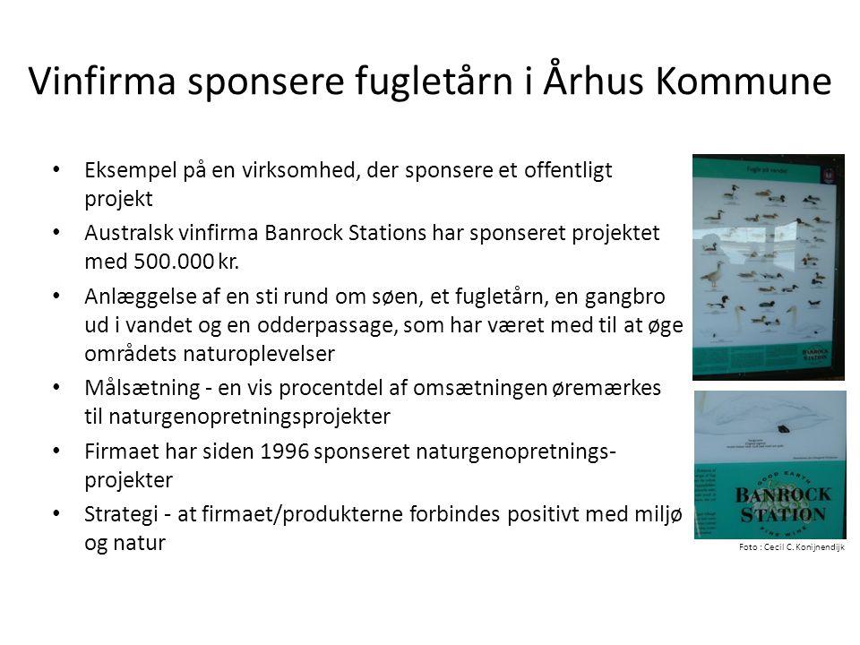 Vinfirma sponsere fugletårn i Århus Kommune
