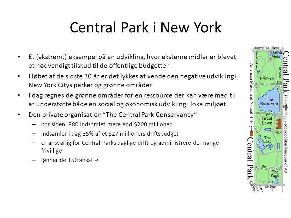 Central Park i New York Et (ekstremt) eksempel på en udvikling, hvor eksterne midler er blevet et nødvendigt tilskud til de offentlige budgetter.