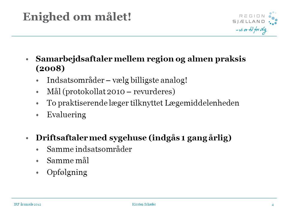 Enighed om målet! Samarbejdsaftaler mellem region og almen praksis (2008) Indsatsområder – vælg billigste analog!