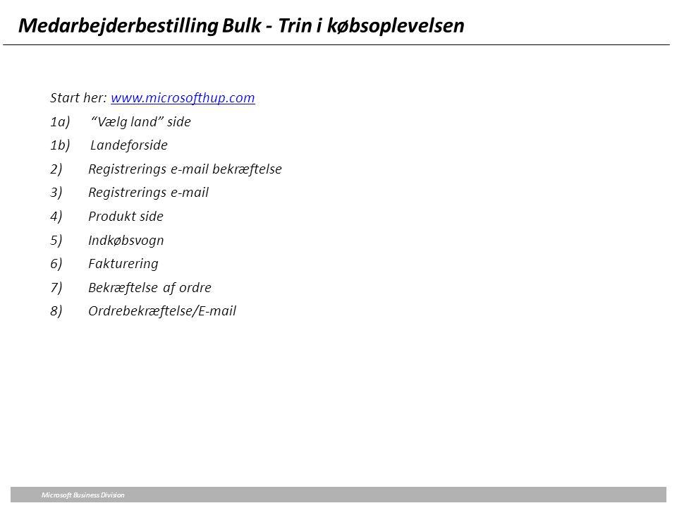 Medarbejderbestilling Bulk - Trin i købsoplevelsen