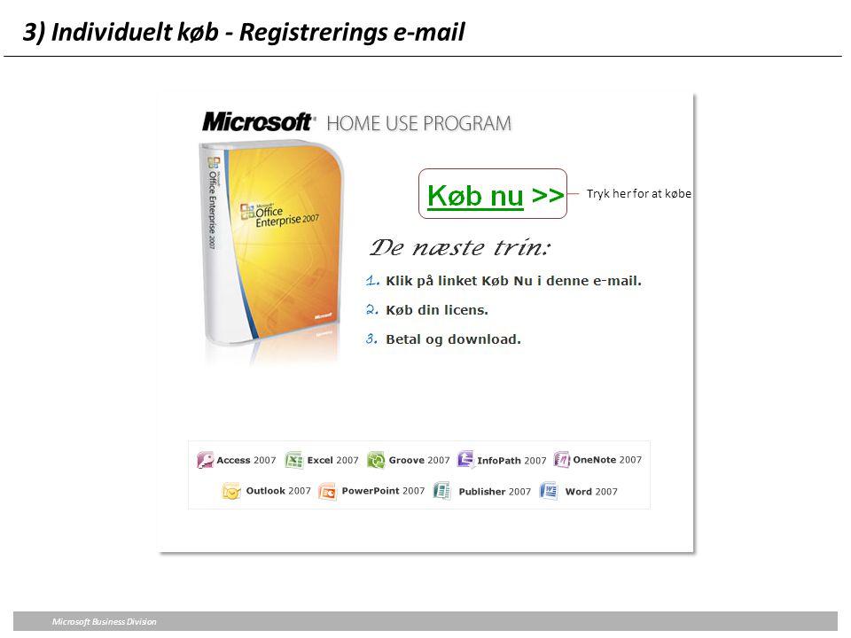 3) Individuelt køb - Registrerings e-mail