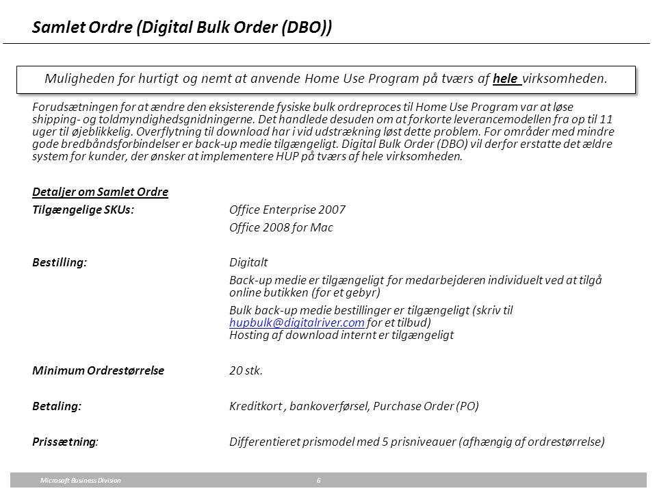 Samlet Ordre (Digital Bulk Order (DBO))